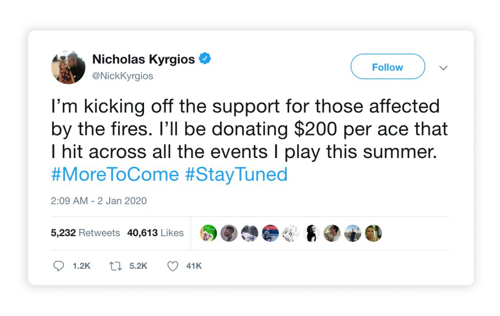A Tweet of Nick Kyrigos showing his support to Australian bushfires crisis