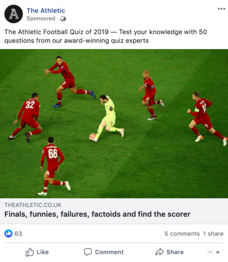 Screenshot of The Athletic's advertisement of Facebook