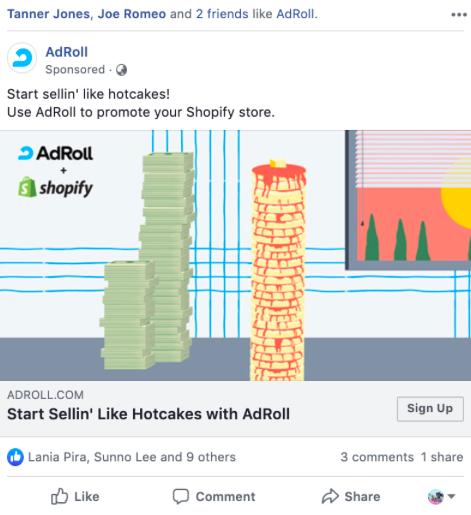 Screenshot of AdRoll's advertisement of Facebook