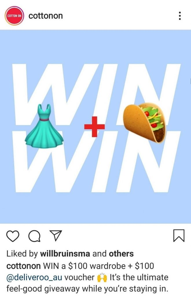 A screenshot of Cotton On sharing their giveaway partnered with Deliveroo on Instagram.