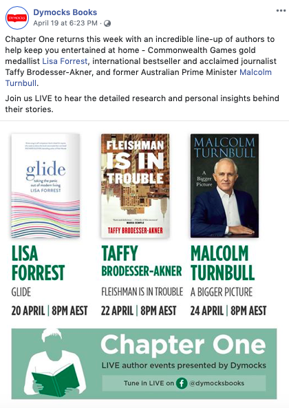 A screenshot of Dymocks sharing their live author events on Facebook.