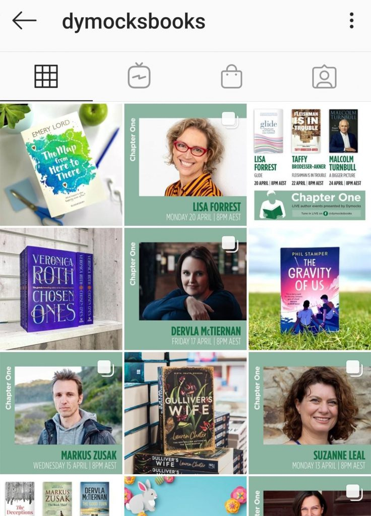 A screenshot of Dymocks sharing their live author events on Instagram.